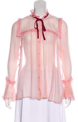 Gucci Lace-Accented Button-Up Top