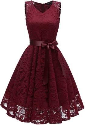 RQH Women 50s Floral Lace Bridesmaid Party Dress Short Prom Dress V Neck