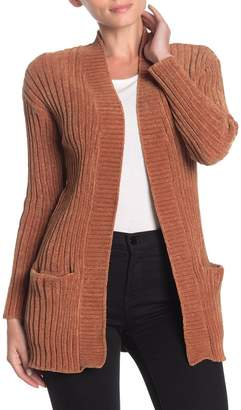 Woven Heart Open Front Pocketed Chenille Cardigan