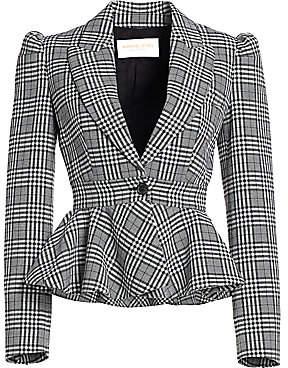 Michael Kors Women's Plaid Virgin Wool Peplum Jacket - Size 0