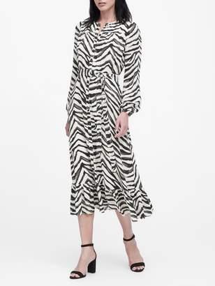 Banana Republic Petite Print Midi Shirt Dress
