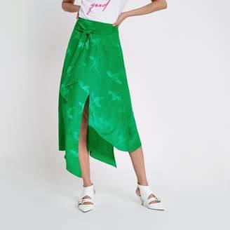 River Island Womens Green jacquard tie waist midi skirt