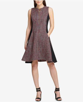 DKNY Tweed Colorblocked Fit & Flare Dress