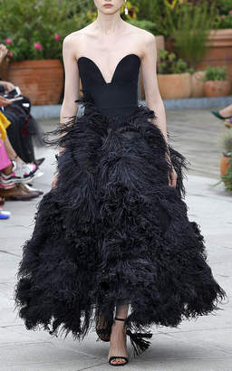 Oscar de la Renta Feather-Embellished Strapless Gown