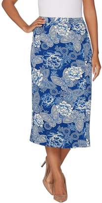 Linea By Louis Dell'olio by Louis Dell'Olio Faux Wrap Printed Midi Skirt