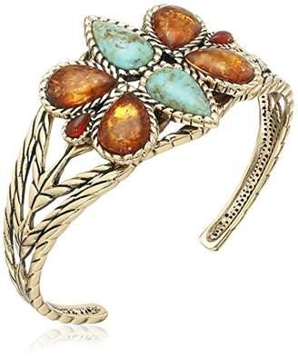 Barse Bronze and Genuine Stone Cuff Bracelet