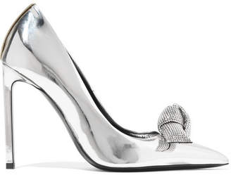 Tom Ford Swarovski Crystal-embellished Mirrored-leather Pumps - Silver