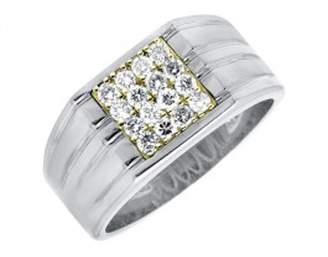 Silvergemking 14K White Gold Fn Diamond Ridged Shank Pinky Band Ring (0.50ct)