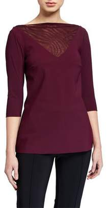 Chiara Boni Goran High-Neck 3/4-Sleeve Illusion Top