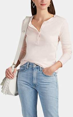 Barneys New York Women's Slub Cotton-Cashmere Long-Sleeve Henley - Pink