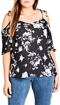 City Chic Flower Time Cold Shoulder Top