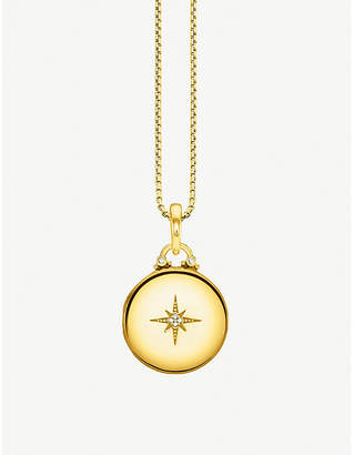 Thomas Sabo Vintage round 18ct yellow gold-plated and diamond locket necklace