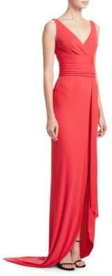 Naeem Khan Women's V-Neck Wrap Gown - Coral - Size 4
