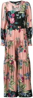 Black Coral floral long dress
