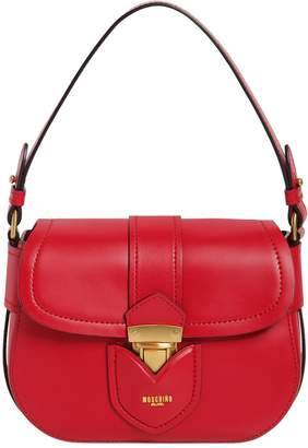 Moschino Lock Leather Shoulder Bag