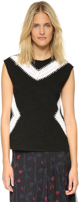 Thakoon Sleeveless Crochet Inset Top