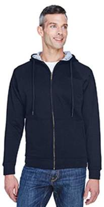 ULTRACLUB UltraClub Adult Rugged Wear Thermal-Lined Full-Zip Hooded Fleece - NAVY/ HTHR GRY - 2XL 8463