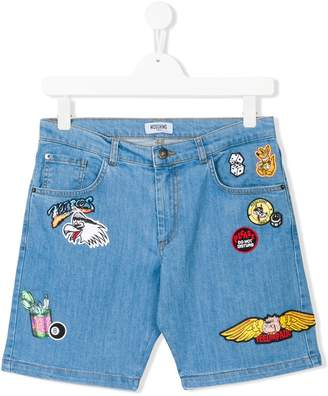 Moschino Kids patch-work denim shorts