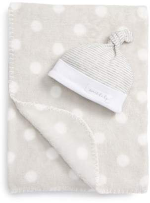 Mud Pie Sweet Baby Receiving Blanket & Hat Set
