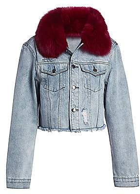 AVA & KRIS Women's Hailey Fox Fur-Collar Denim Jacket