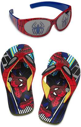 Disney Store Spider-Man Flip Flop Sandals and Sunglasses Set, Size 7-8 US Toddler