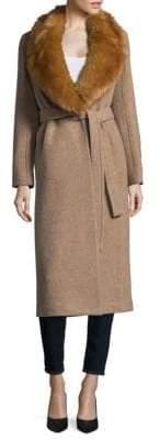 Helmut Lang Faux Fur-Trimmed Wool Coat