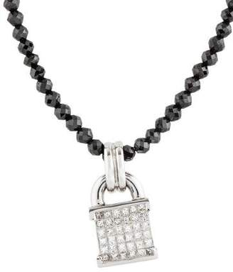 18K Diamond Bead Pendant Necklace