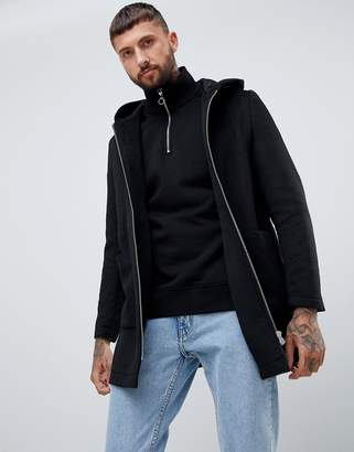 Asos DESIGN wool mix hooded overcoat in black