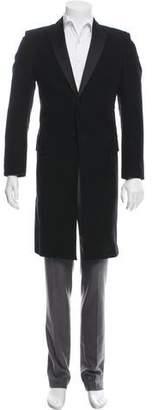 Alexander McQueen Satin-Trimmed Velour Overcoat