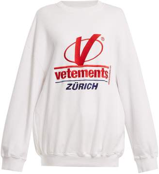 Vetements Logo-embroidered cotton-blend sweatshirt