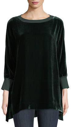 Lafayette 148 New York Joplin Round-Neck Long-Sleeve Velvet Blouse w/ Knit Trim
