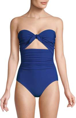 Kate Spade Grove Beach One-Piece Tie Bandeau Swimsuit