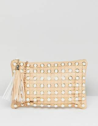 Yoki Fashion Pearl Embellished Clutch with Detatchable Strap