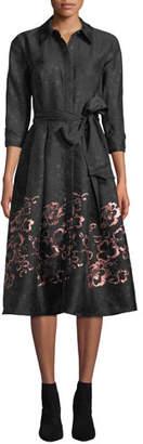Rickie Freeman For Teri Jon Floral Jacquard Self-Tie Shirt Dress