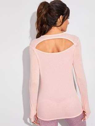 Shein Cut Out Back Tee With Thumb Holes
