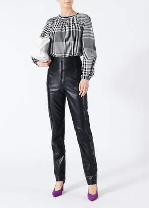 Tibi Leather High Waisted Zip Front Pants