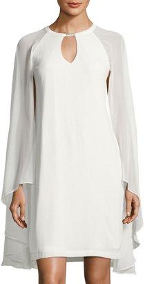 Chetta B Draped Shawl-Sleeve Crepe Dress, Ivory $99 thestylecure.com