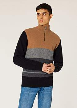 569b5b17c Men's Brown Colour-Block Funnel Neck Lambswool-Blend Half-Zip Sweater