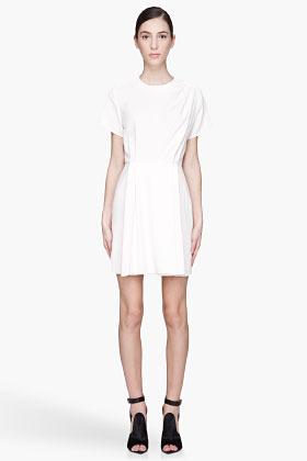 Proenza Schouler Ecru pleated Waisted Dress