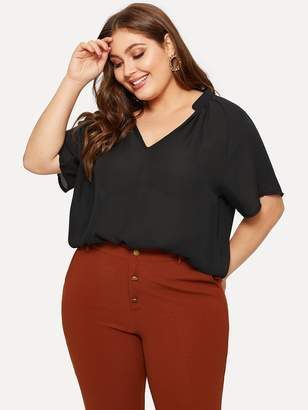 Shein Plus V-neck Solid Chiffon Blouse
