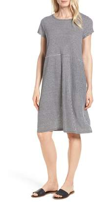 Eileen Fisher Stripe Organic Linen Jersey Shift Dress