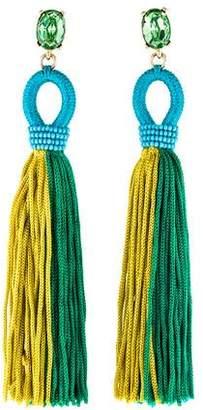 Oscar de la Renta Fabric & Crystal Tassel Earrings