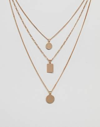 Aldo Gold Multirow Necklace With Geometric Pendants