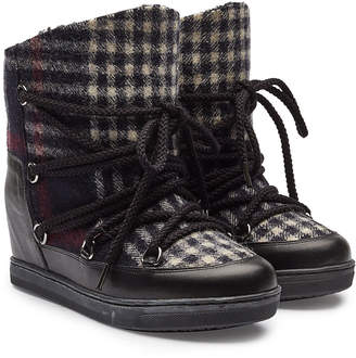 Isabel Marant Nowles Wedge Heel Ankle Boots with Virgin Wool, Leather and Shearling Insole