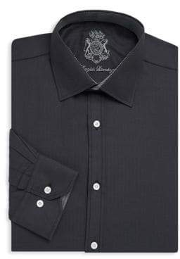 English Laundry Herringbone Cotton Dress Shirt