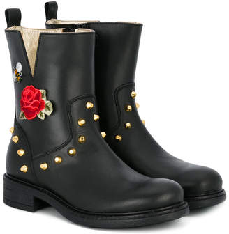 MonnaLisa rose studded ankle boots