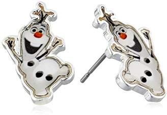 """Disney Girls'""""Frozen"""" -Plated Olaf Stud Earrings"""