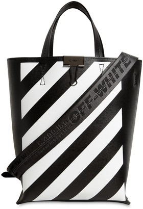 Off-White Off White DIAG PRINTED LEATHER TOTE BAG