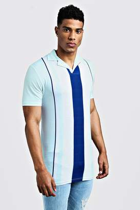 boohoo Muscle Fit Striped Revere Collar Polo