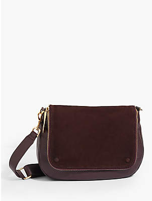 Jigsaw Nico Zip Leather Satchel Bag, Wine
